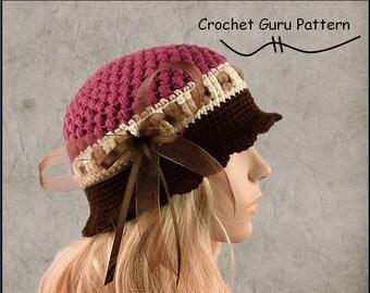 Crochet Pattern - Cloche Hat Pattern - Crochet Hat - 1920's Flapper Hat - 5 Sizes - Baby to Adult - Instant Download