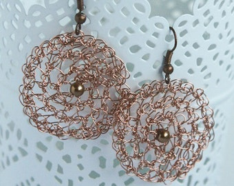 Wire Crochet Earrings, Crochet Jewelry, Lace Earrings, Copper Round Earrings, Wire Wrap, Wire Jewelry,  Women Jewelry Gift Ideas, Copper