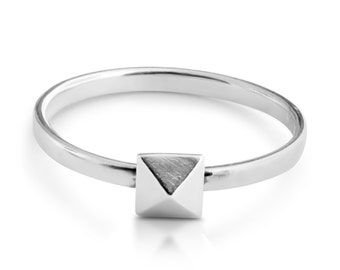 Pyramid Geometric Shape Stackable Ring #925 Sterling Silver #Azaggi R0530S