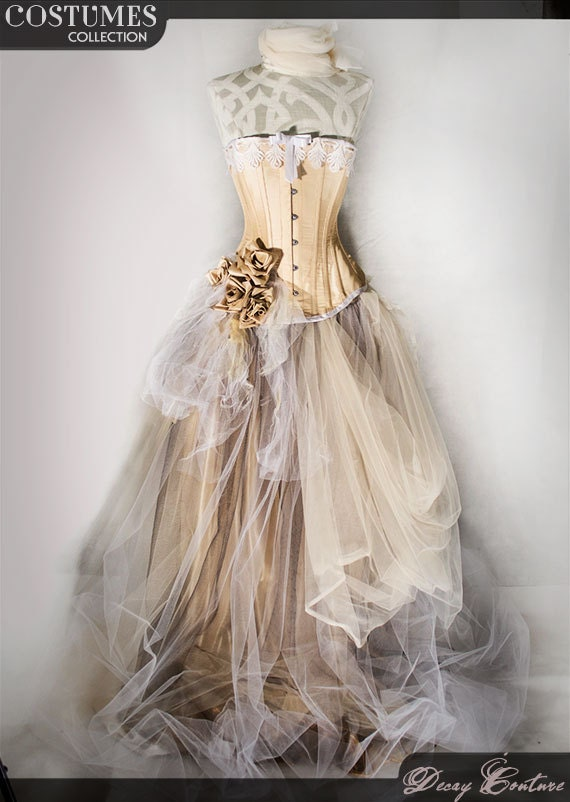Champagne taffetta prom dress wedding dress with victorian for Victorian corset wedding dresses