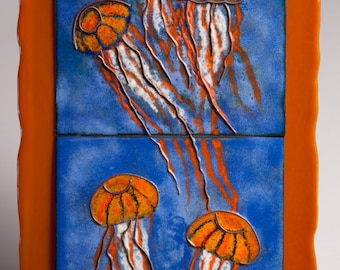 Fused glass and copper enamel wall art panel - Floating Jellies, Jellyfish