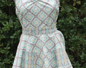 Gray and Teal full size apron