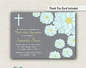 Floral First Communion Invitation - Floral Baptism Invitation - Floral Communion Invitation - Grey Girl Communion Invitation