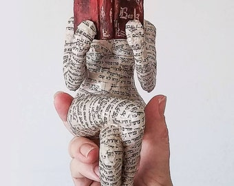 Reading woman, papier mache sculpture, collectible item, ooak sculpture, shelf decor
