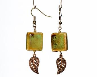 Green Ceramic Leaf Earrings