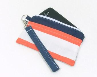 Stripe Clutch Bag, Cell Phone Clutch, Phone Wristlet, Phone Wallet, Coral Stripe Clutch, Navy Stripe Clutch, Wristlet Wallet, Summer Clutch