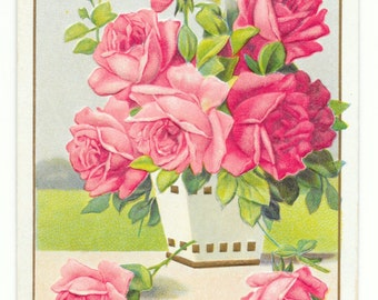 Pot of Roses Birthday Postcard, c. 1910