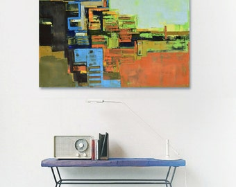 """Abstract painting black and blue modern minimalist large canvas art 39.37/27.5(100/70cm). Free shipping."""" Layer city III""""."""