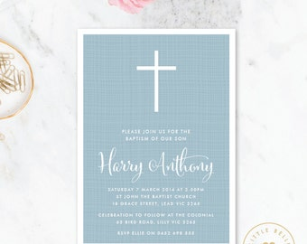 Boy Baptism Invitation / Christening Invitation / Boys Baptism Invitation / Boys Christening Invitation / Baptism invite printable