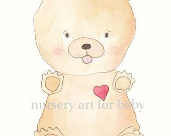 Nursery decor- Printable wall art- Instant download- Watercolor - Wall print -Teddy bear