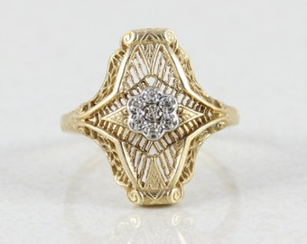 10k Yellow Gold Diamond Filigree Ring Size 6 1/2 Antique Ring Art Deco Ring