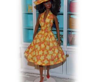 """Dress & Hat """"Sunshine Yellow"""" 1:6 Scale Fashion Doll Clothes. Handmade in the USA.  (Clothes only, Silkstone Barbie Doll is not included)"""