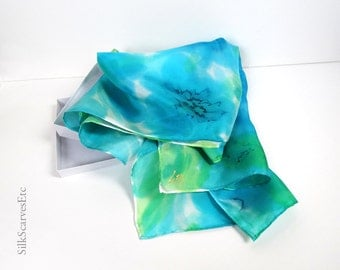 Green blue silk scarf, Hand painted floral silk scarf, Abstract silk, Watercolor flowers scarf, Art silk, Gift for her, Mother's gift