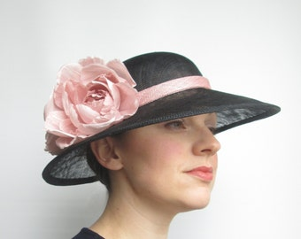 Black Pink Wedding Hat - Ladies Hat, Occasion Hat, Wedding Hat, Dusky Pink Hat, Mother of Bride, Races Hat, Derby, Ascot, Garden Party