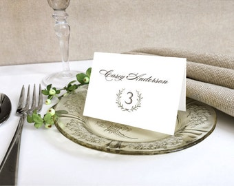 White Laurel Wreath Wedding Place Cards - Rustic Wedding Name Cards - Printed Wedding Place Cards - Simple and Delicate Floral Wreath