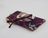 Purple turu bird/ Eye glass case/02/ Smartphone case /Japanese cotton /Sun glass case / Hand-made