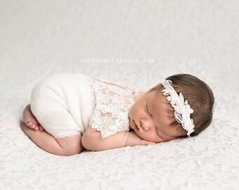 Newborn Romper Prop; Newborn Lace Romper; IVORY; Short Sleeve Romper; Newborn Photo Prop; Photography Prop; a0002