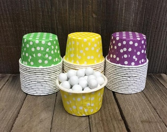 Mardi Gras Paper Snack Cups - Set of 48 - Green Polka Dot Candy Cup - Purple Mini Ice Cream Cup - Yellow Paper Nut Cup - Same Day Shipping