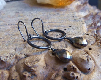 Pyrite and blackened sterling silver earrings // metaphysical // gothic // silver jewelry // pyrite jewelry