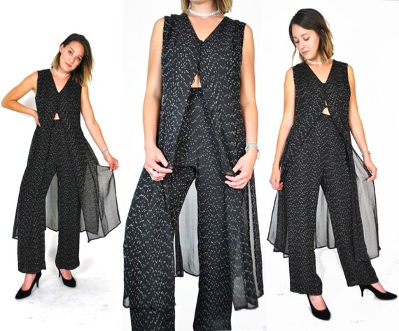 Sheer Black Vest/Pants Set 90s High Waisted Trousers Button