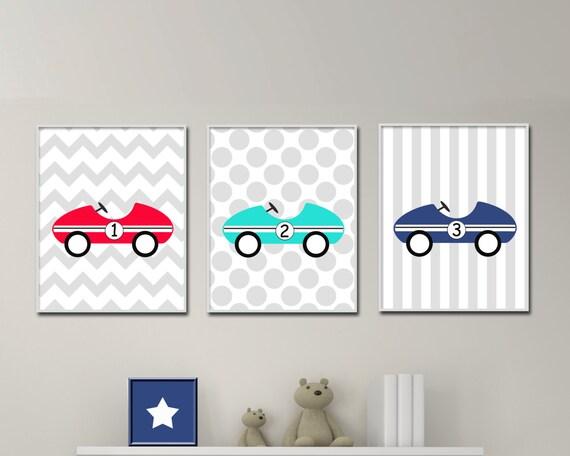 Baby Boy Nursery Art Prints Retro Car Nursery Wall Art Print