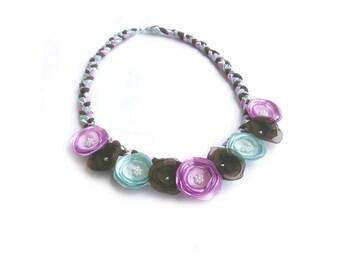 Fabric Flower Necklace, Lavender Necklace, Floral Necklace, Flower Jewelry, Floral Jewelry, Chunky Necklace, Feminine Necklace, Bib Necklace