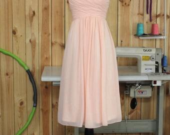 V Neck Pearl Pink Bridesmaid dress, Blush Wedding dress, Chiffon Party dress, Formal dress, Prom Dress,Woman Evening dress knee length