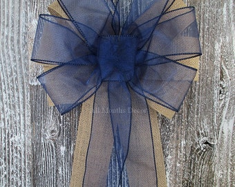 Navy Blue Sheer Burlap Pew Bow, Rustic Wedding Bridal Baby Shower Boy Girl Gender Reveal Party