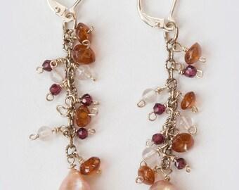 Pink South Sea Pearl Dangle Earrings, Hessonite Garnet, Rose Quartz, Red Garnet, Sterling