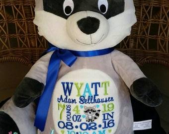 X-Large Personalized Baby Gift, Stuffed Animal, Raccoon Stuffed Animal, Monogrammed Stuffed Animal,Birth Announcement Stuffed Animal