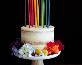 "Set of 14 - 100% Pure Beeswax Rainbow Birthday Candles - 4"" or 6"" - Made in Oklahoma"