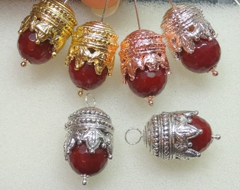 Maharajah Ruby Red INTERCHANGEABLE Earring Charms Sterling, Pink, Rose or YG