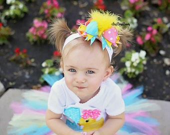 Girls headband OTT hair bow clip yellow feathers turquoise pink spring easter summer duck ducky