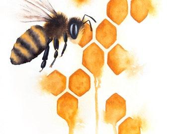 "FINE ART PRINT - 8x10"" Honey Bee Watercolor Painting"