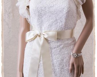 """2"""" Deluxe Ivory Bridal Sash, Ivory Wedding Sash Belt, Ivory Satin Ribbon Bridal Belt, Wedding Sash, Satin Bridal Sash"""