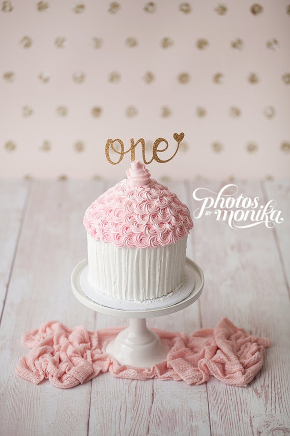 One Cake Topper First Birthday Girl Cake Topper Heart
