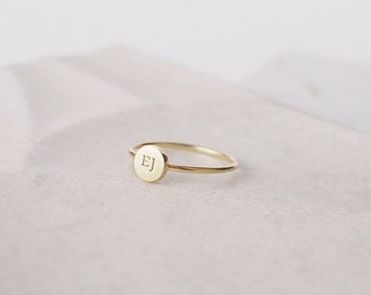 Custom Initial Ring - Stackable Initial Disc Ring - Dainty Letter Ring - Custom Stacking Name Jewelry Gold, Rose Gold, Silver PR15