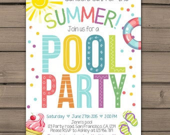 Summer party invitation Pool party invitation End of Year Party Beach party Schools Out for the Summer birthday invitation Digital Printable