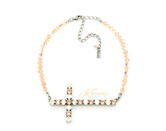 GLAMOUR CROSS PEACH 6mm or 29ss Crystal Chaton Choker Made With Swarovski Elements *Antique Silver *Karnas Design Studio *Free Shipping*