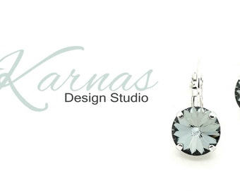 CRYSTAL SILVER NIGHT 12mm Crystal Rivoli Drop Earrings Made With Swarovski Elements *Pick Your Finish *Karnas Design Studio *Free Shipping