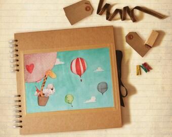 My first photo album - Kraft square scrapbook with illustration, customizable, baby book, birth, birthday, baptism