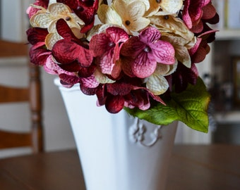 Hydrangea | Hand Blended Hydrangea Stem | Burgundy Hydrangeas | Artificial Hydrangea | Floral Gift for Mom | Mother's Day Gift
