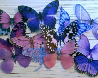 Edible Spring Purple Pink Butterfly Edible Cake-Cupcake Toppers, (12)