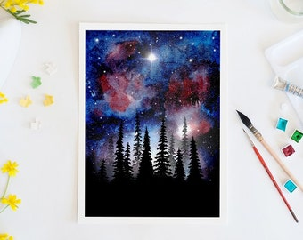 Starry night, nebula, watercolor print, forest, trees, galaxy, space, wall art, art print, home decor, watercolor art, stars