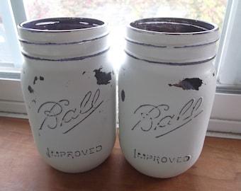 Distressed Mason Jars, Purple Mason Jars, mason Jar Candle Holders, Mason Jar Vases, Tinted Mason Jars, Distressed Jars