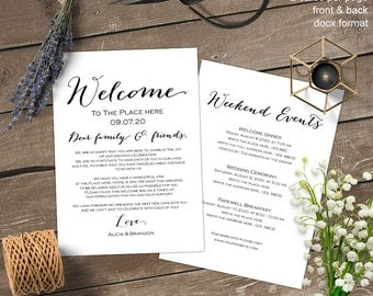 Wedding welcome letter, Wedding welcome bag note, itinerary, thank you, template, printable, S3