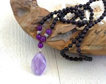 Ametrine Mala Necklace, Wood and Pearl Mala Beads, Yoga Prayer Beads, Purple Mala Beads, Gypsy Jewelry, Natural Jewelry