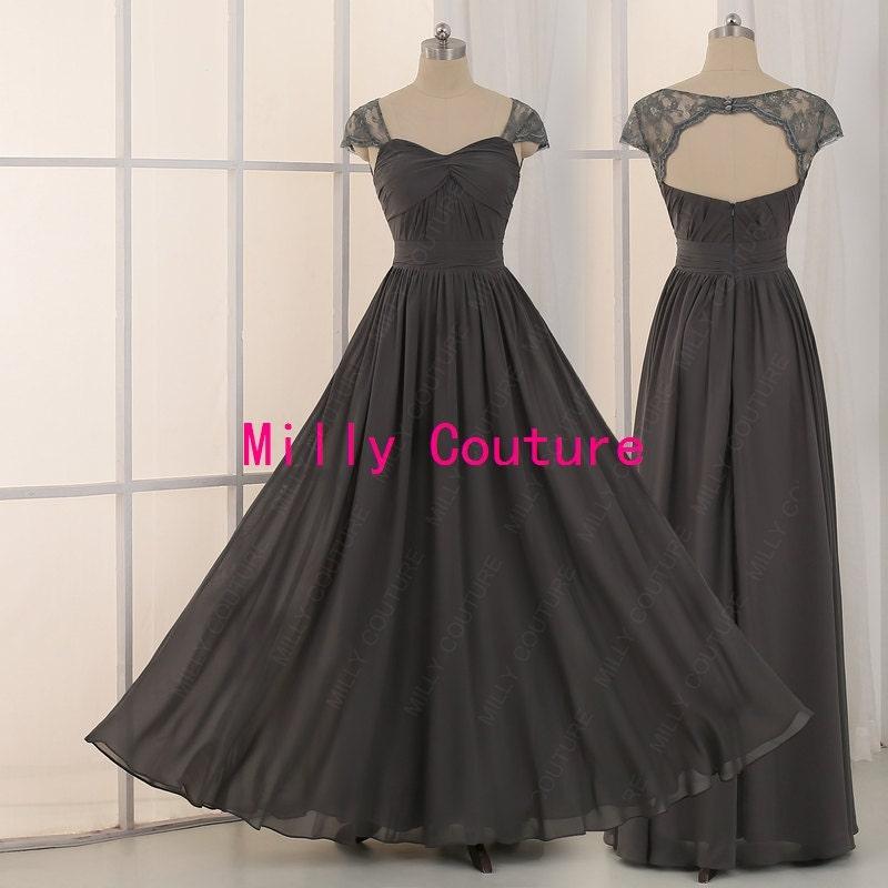 Dark grey bridesmaid dressbackless long bridesmaid dresses for Dark grey wedding dresses