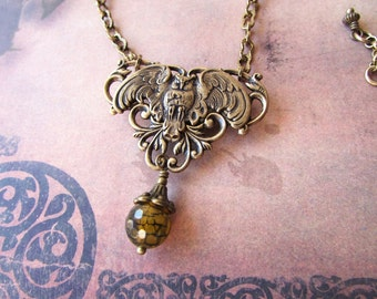 Brass owl and agate necklace