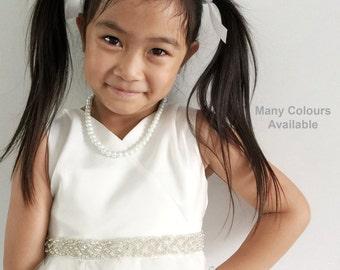 Flower Girl Sash-Flower Girl Belt-Girl Sash-Girl Dress Sash-Girl Dress Belt-Baby Sash-Baby Belt-Baby Dress Belt-Loops Rhinestone Girl Sash